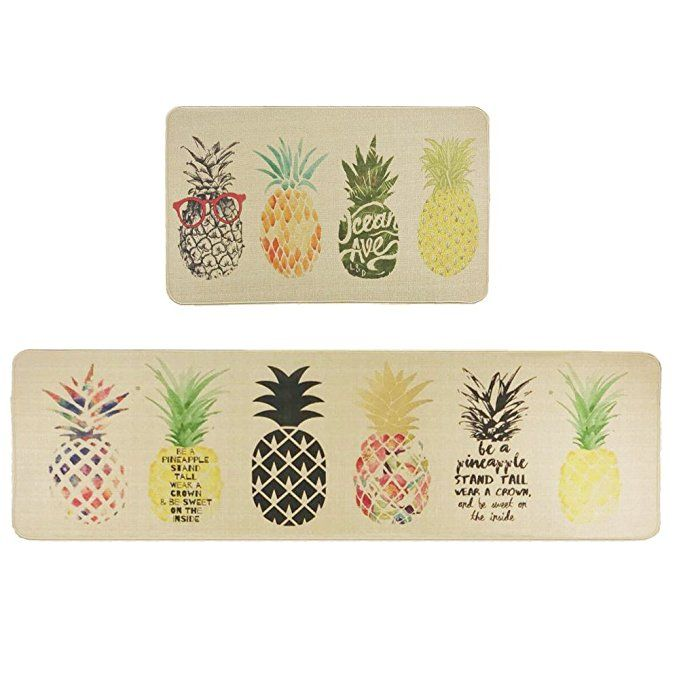 Wolala Home Natural Rubber 2 Pieces Sets Non Slip Kitchen Rug And Carpet Fruit Pineapple Comfortable Kitchen Rugs And Mats Area Room Rugs Kitchen Rugs Washable