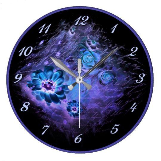 Written In Floral Night Glow Blue Wall Clock