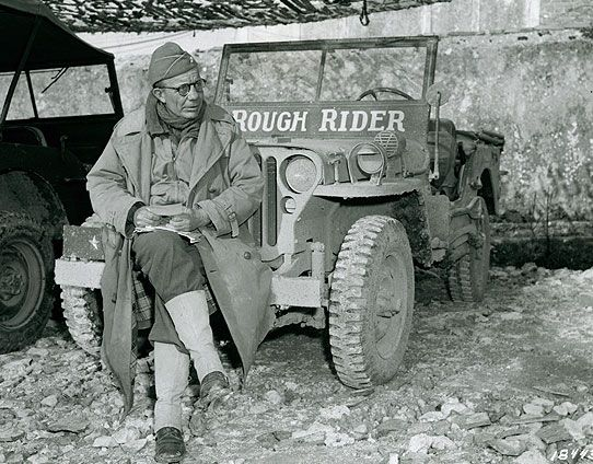 "Brigadier General Theodore Roosevelt, Jr. and his ""Rough Rider"" jeep in Italy, January 1944. This former commander of the 26th Infantry Regiment, 1st Infantry Division, was one of the most popular generals in the storied history of the Big Red One."