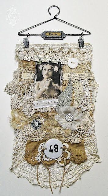 Beautiful vintage lace wall hanging by Viola