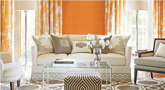 asian fabrics orange natural patterns curtains white couch gray carpet