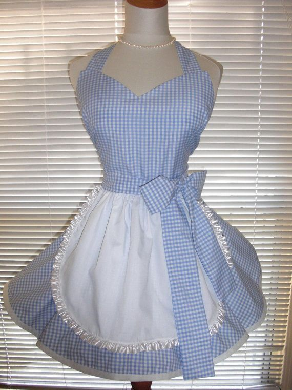 Retro Wizard of Oz Inspired Dorothy French Maid Apron Blue and White Gingham on Etsy, $37.00