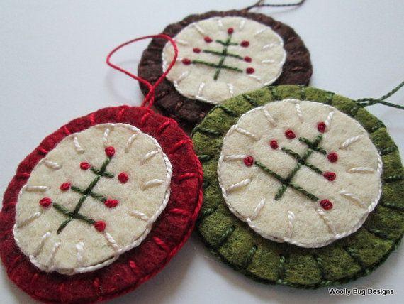 Folk Art Tree Wool Felt Ornaments Set of 3 by WoollyBugDesigns