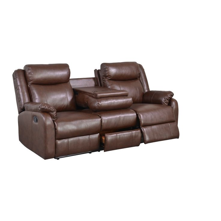 Brown Bonded Leather Double Recliner With Table Console Great Deals Shopping And Leather