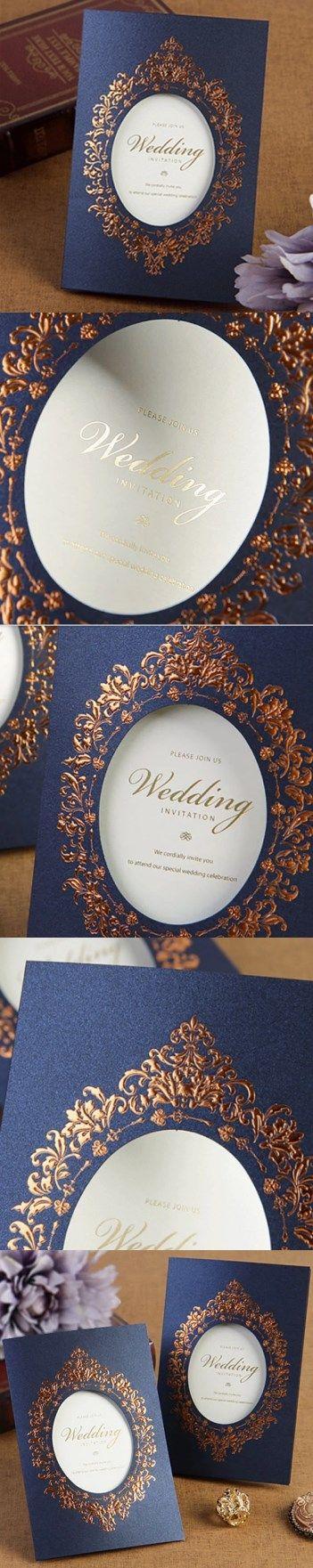 Royal dark blue embossed invitations cards for wedding VC0054DB