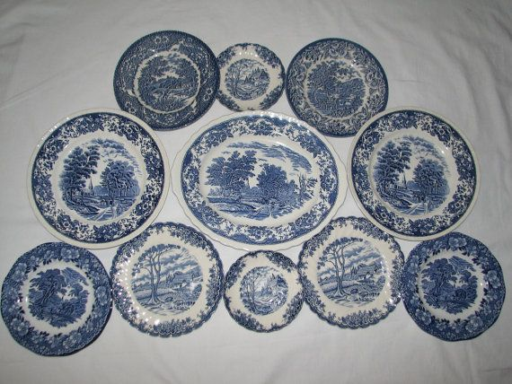 11 ps blue transferware COLLECTION starter instant WALL