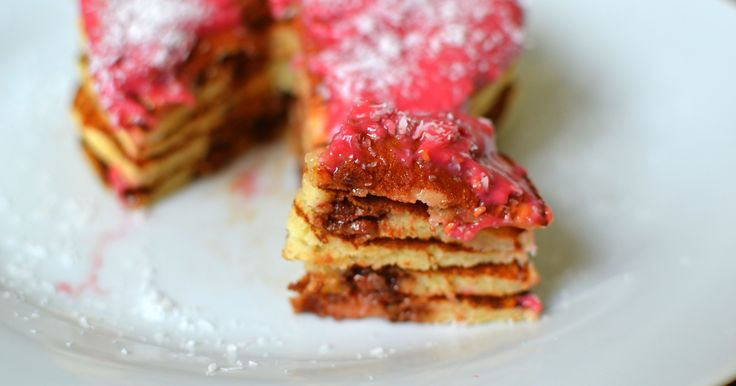 Chocolate, Raspberry and Coconut Pancakes