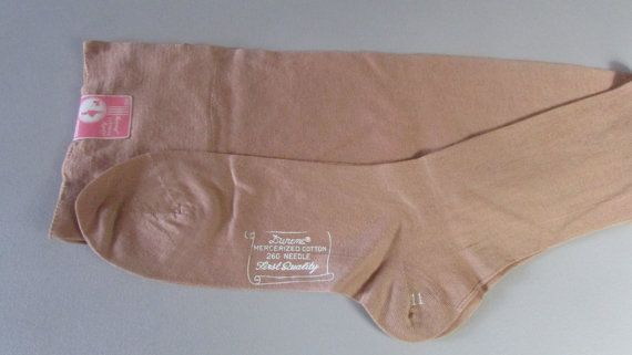 Vintage 1930 Stockings LIngerie Dark Beige Cotton Unworn with Tag Lady Wallace Hosiery 11 Leg Seam Nice