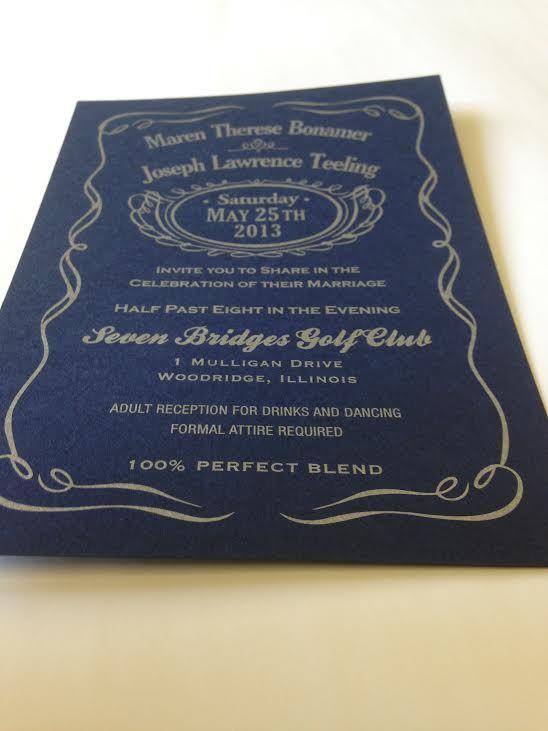 Jack Daniels Themed Wedding Invitation