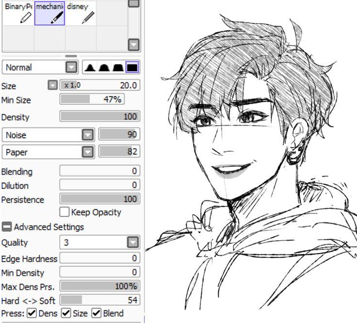 Kkumri's brush settings for sketching