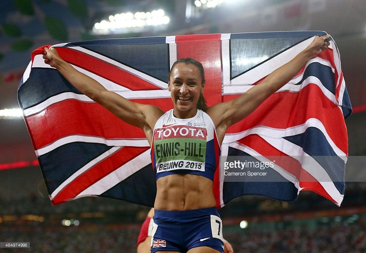 Jessica Ennis-Hill of Great Britain celebrates after winning the Women's Heptathlon 800 metres of the 15th IAAF World Athletics Championships Beijing 2015 (Photo by Cameron Spencer) | #IAAF #China #Athletes #sport #photography