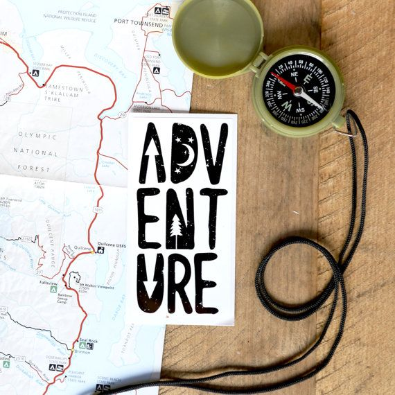 ↟ adventure onwards!↟ These graphic vinyl stickers were hand designed and printed locally in the Pacific Northwest. It is printed on premium