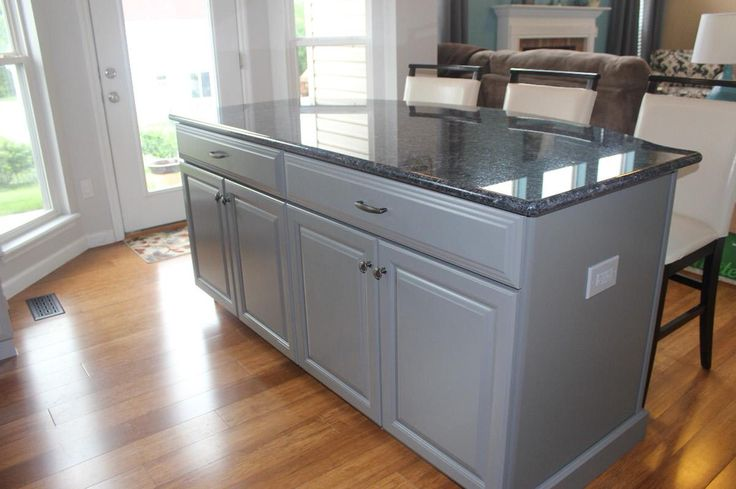 Island with blue pearl granite