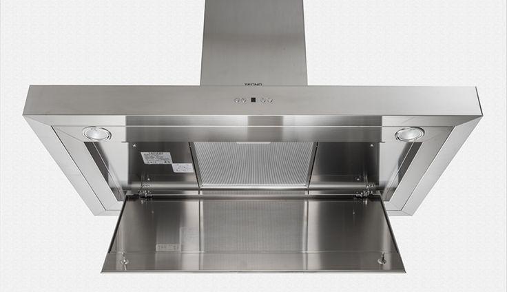 Coifa de teto TC 10.  Filtro de gordura embutido: posicionado sobre o painel perimetral, proporciona uma apresentação mais higiênica da coifa em sua cozinha. #TECNO #COIFA