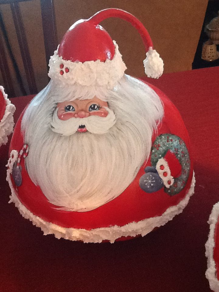 Gourd - Hand Painted Santa