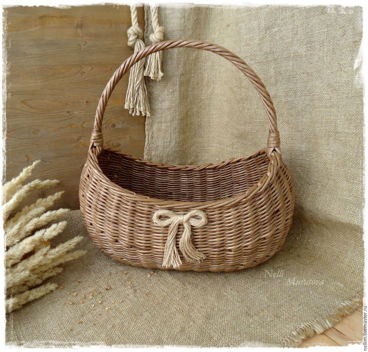 "Купить "" Очарование"" Корзина-лукошко плетеная - корзина плетеная, коричневый, корзина-лукошко"