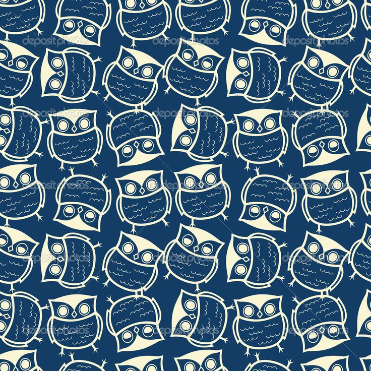 Cute seamless owl background pattern Stock Vector | Places ...