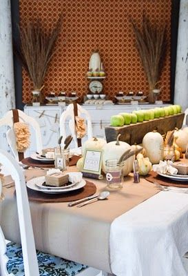 Fall Party: Holidays Parties, Tables Sets, Fall Decor, Fall Parties, Harvest Tables, Fall Harvest, Parties Ideas, Centerpieces, Thanksgiving Tables