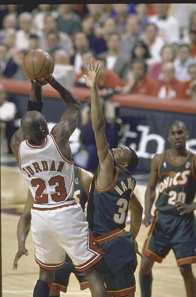 NBA Finals Game 6 Rear view of Chicago Bulls Michael Jordan in action shooting vs Seattle SuperSonics Hersey Hawkins #NBA