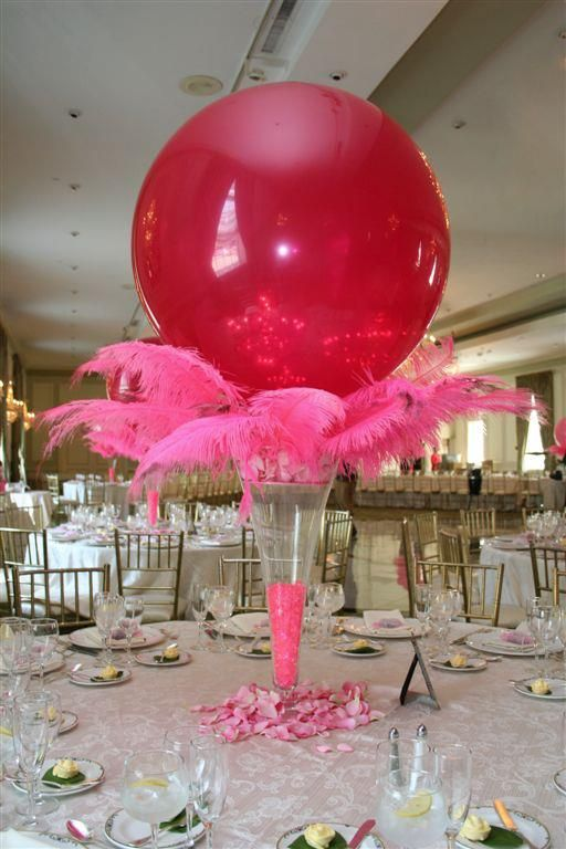 Decorating with balloon ideas ...... Here's one  add drama to the table with a centerpiece made from oversized balloons and feathers!