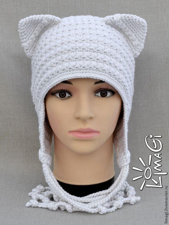 """Купить Шапочка """"Озорница"""" - описание - котошапка, зверошапка, шапка женская, шапка вязанная, шапка крючком"""