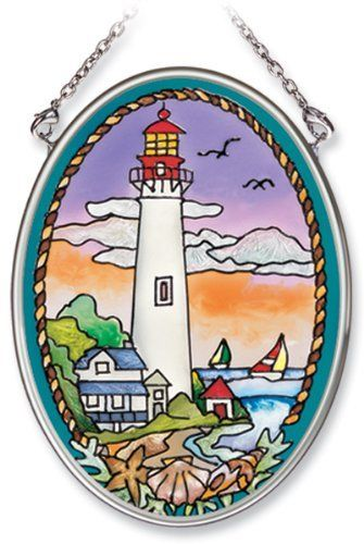 Amia Hand Painted Glass Suncatcher with Cape May Lighthouse Design, 3-1/4-Inch by 4-1/4-Inch Oval by Amia. $11.00. Includes chain. Handpainted glass. Comes boxed, makes for a great gift. Amia glass is a top selling line of handpainted glass decor. Known for tying in rich colors and excellent designs, Amia has a full line of handpainted glass pieces to satisfy your decor needs. Items in the line range from suncatchers, window decor panels, vases, votives and much more.