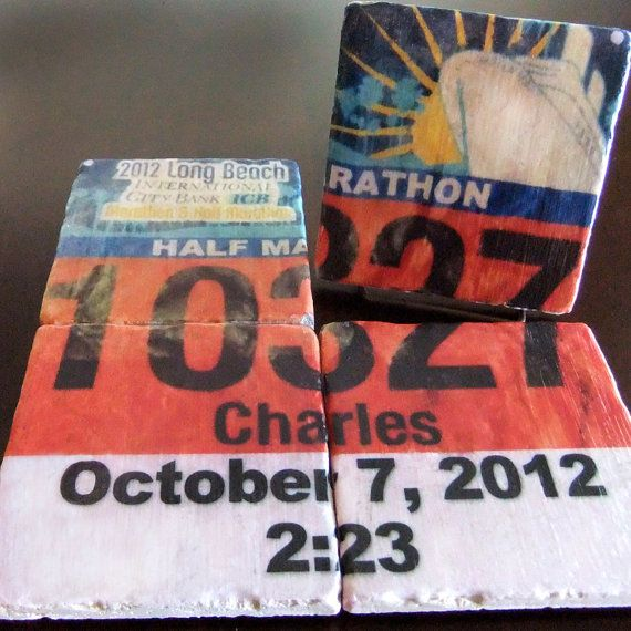 Personalized Race Bib Coasters/Tiles - Set of 4. Tumbled Marble 4in. x 4in. Perfect for Runners on Etsy, $30.00