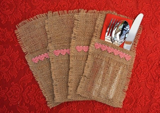 Hessian Cutlery Holders, Red Heart, set of 4. £8.00