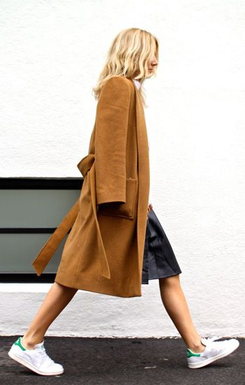 How to wear #camelcoat: #leatherskirt + #whitesneakers