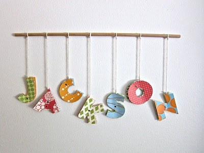 cute way to display kid's names. Will be nice in a shadowbox frame