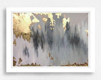 12 x 24 hojas de oro pintura abstracta con luz cercetas y