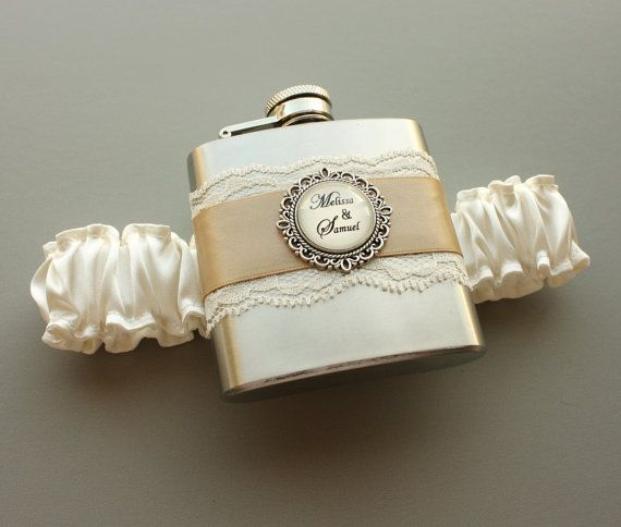 Personalized Satin & Lace FLASK GARTER  Ivory by MoonshineBelle, $40.00