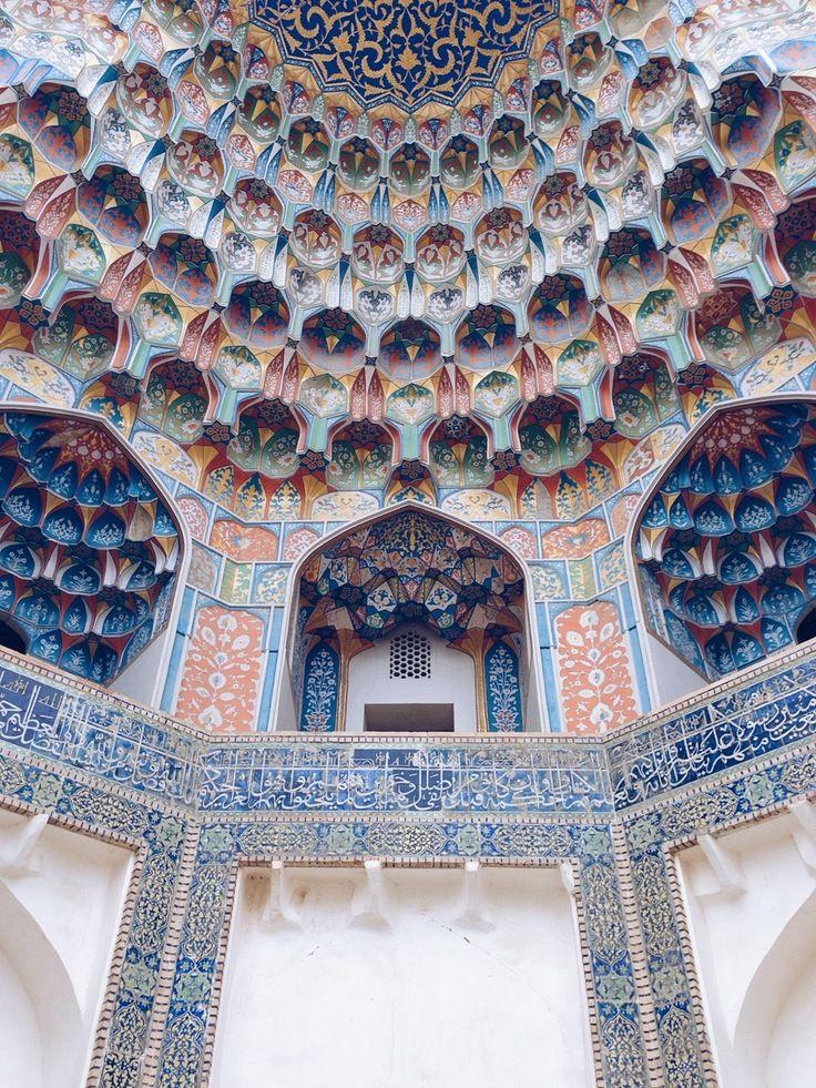 muqarnas at the entrance of the abdul aziz khan madrasah, bukhara, uzbekistan   islamic art + architecture