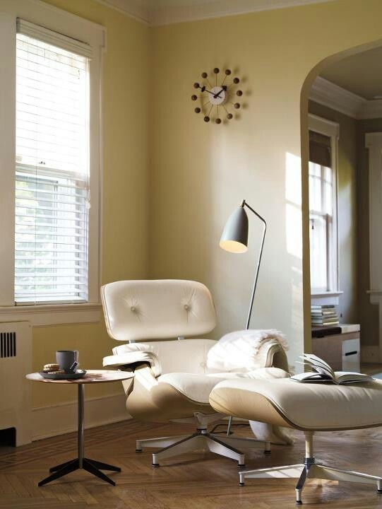 White Eames lounge chair