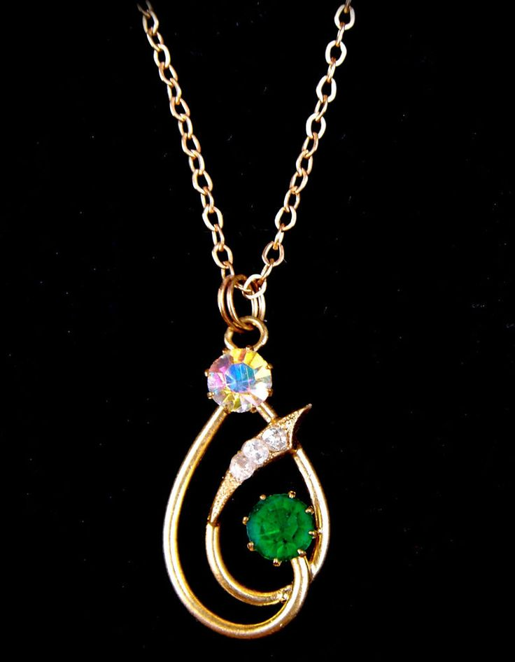 Vintage Czech Glass Pendant Necklace Gold Tone Green Aurora Borealis Art Deco  #Unbranded #Pendant