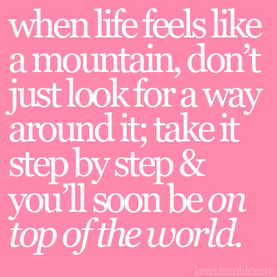 step by step: Tops Of The Mountain Quotes, On Tops Of The World, Food For Thoughts, The View, Mountain Tops Quotes, Inspiration Thoughts, Imagination Dragon, Smoky Mountain, Step By Step