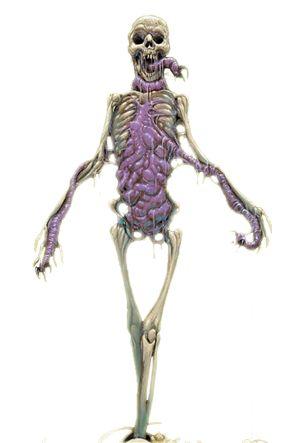 Mohrg - Esta criatura parece um cadáver gigante, semi-esquelético. Sua caixa torácica esta repleta de vísceras expostas e nojentas. A lingua da criatura é sua característica mais notável - comprida, cartilaginosa e repleta de garras. Quase todos os mohrg têm entre 1,50 m e 1,80 m de altura e pesam cerca de 60 kg.