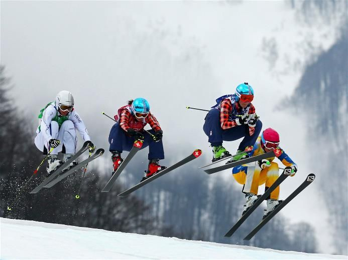 (L-R) Ophelie David of France, Kelsey Serwa of Canada, Marielle Thompson of Canada and Anna Holmlund of Sweden compete in the Freestyle Skiing Womens' Ski Cross Final