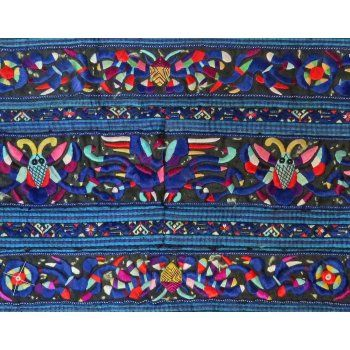 Miao Sleeve panel - Creation Stories with mythical creatures This  exceptionally fine embroidery was  worked in a single strand of silk   The panel depicts the creation stories of the Miao people of  south west China  . Please Click the image for more information.