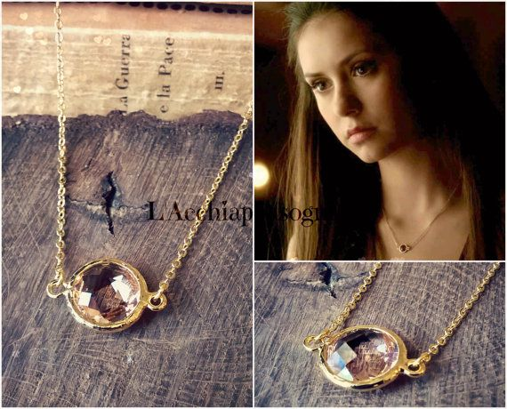 Elena Gilbert Light Peach Brass 16k Gold Plated Glass Connector Necklace.