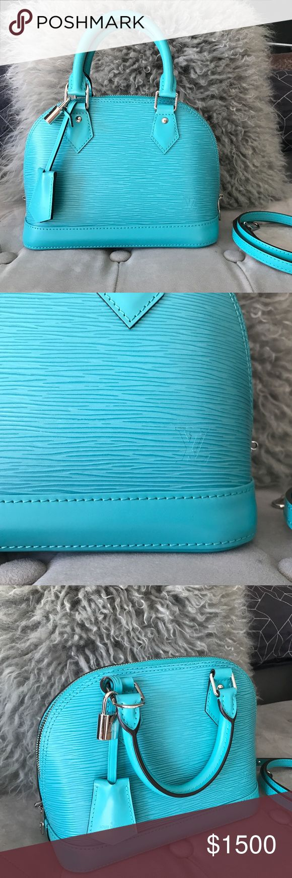Louis Vuitton LV Epi Alma BB *Turquoise* RARE! Like New.  Made in France.  Beautiful and clean inside and outside.   Has tags & dust bag.  Purchased in the Louis Vuitton store in South Coast Plaza.  Retails for $1,590 plus tax. Louis Vuitton Bags Crossbody Bags