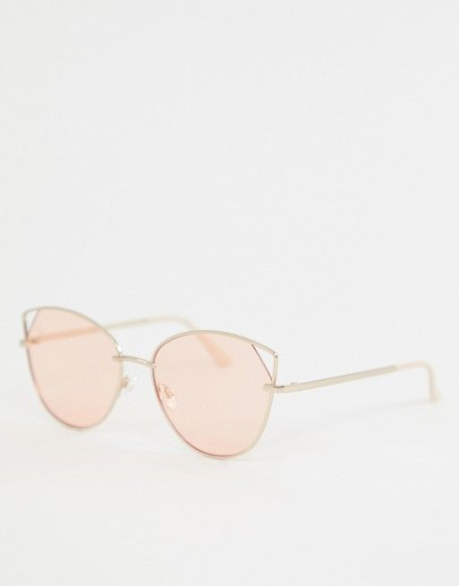 22ae086c52fba2 Jeepers Peepers cat eye sunglasses in gold with pink lens in 2019 ...