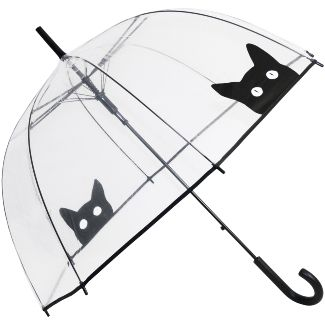 Peek-a-Boo Clear Dome Umbrella - Black Cat - Brolliesgalore                                                                                                                                                     More