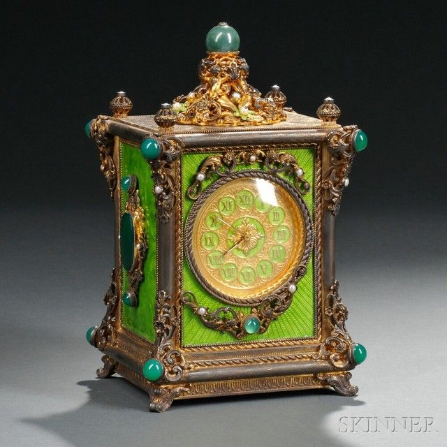 Continental Gilt-metal, Guilloche Enameled, and Jeweled Musical Clock | Sale Number 2740B, Lot Number 196 | Skinner Auctioneers