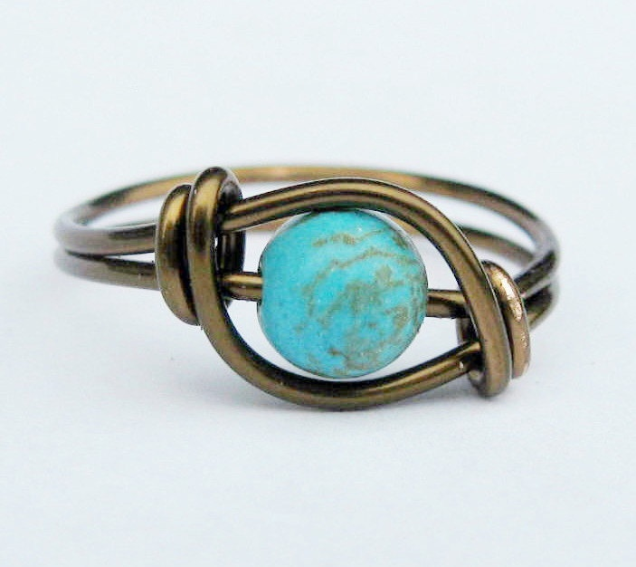 Boho Chic Matrix Turquoise and Antique Brass Ring