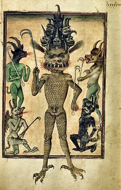 Bodleian Library, MS. Douce 134, f. 98r ('Lucifer accompanied by lesser devils'). Livre de la Vigne nostre Seigneur. Codex Gigas Satan...
