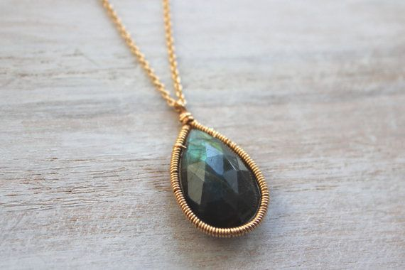 Gold Labradorite Necklace - Long Thin Gold Chain - Wire Wrapped Jewelry