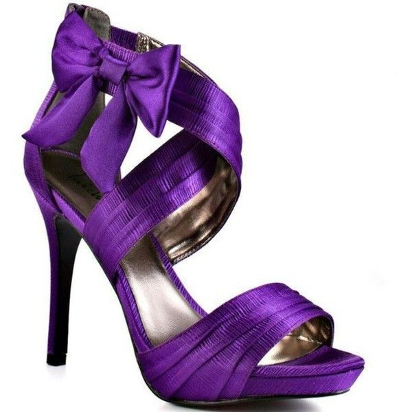 Shoes: prom high heels sandals open toes bows purple heels purple... ❤ liked on Polyvore