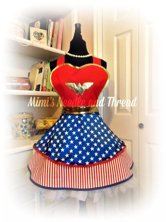 Wonder Woman is in all of us...so why not let your super hero self shine through.    The sweetheart bib is fully lined and trimmed in metallic gold