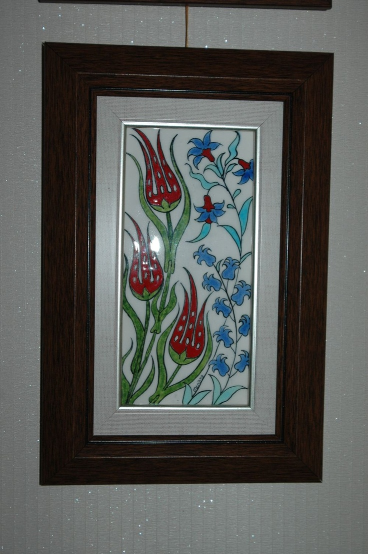 Ceramic tile, framed (lale ve sümbüller) 10cm x 20 cm
